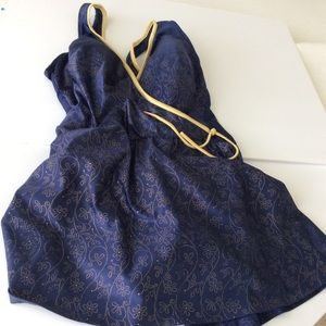Robby Len Vintage Swimsuit 20W Navy Blue Gold